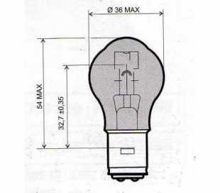 LAMPADA 12V-35/35W S2 BA20D BIANCA OMOLOGATA