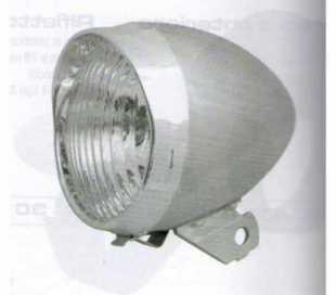 FANALE BICI ANTERIORE GRIGIO IN METALLO D.74mm. CON LAMPADINA 2,4V.-6W