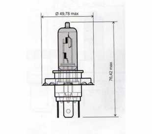 LAMPADA 12V-60/55W H4 BLU (LUCE BIANCA)