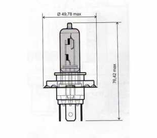 LAMPADA 12V-60/55W H4 OMOLOGATA BIANCA