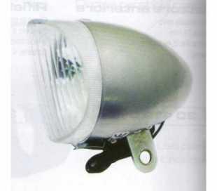 FANALE BICI ANTERIORE SILVER IN METALLO D.64mm. CON LAMPADINA