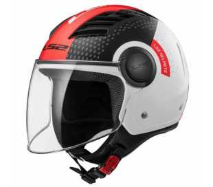 CASCO CON VISIERA LS2 AIRFLOW WHITE BLACK RED